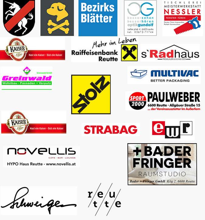 Hauptsponsoren: Multivac, Optik Gundolf, Raika, Sport2000, Reutte, Radhaus, Storf, Kaiser Bier, Bezirksblätter, Greinwald