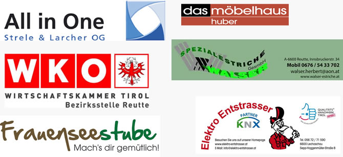 Sponsoren: Multivac, Optik Gundolf, Raika, Sport2000, Reutte, Radhaus, Storf, Kaiser Bier, Bezirksblätter, Greinwald